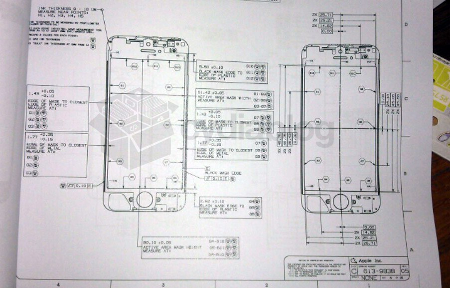 iphone 5 prototyp technische zeichnung zum iphone 5 geh use aufgetaucht handy tests. Black Bedroom Furniture Sets. Home Design Ideas